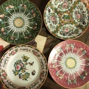 Famille Rose Mixed Salad Plates
